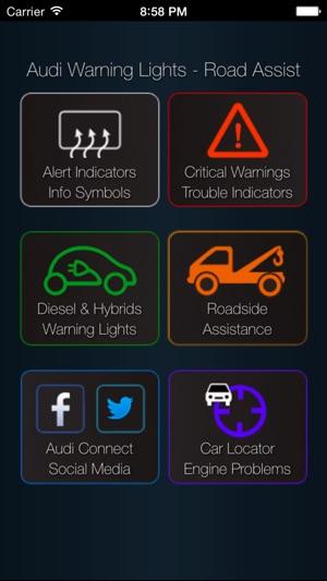 App For Audi Cars Audi Warning Lights Road Assistance Car