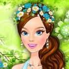 Vista uma linda garota com guirlanda de flores icon