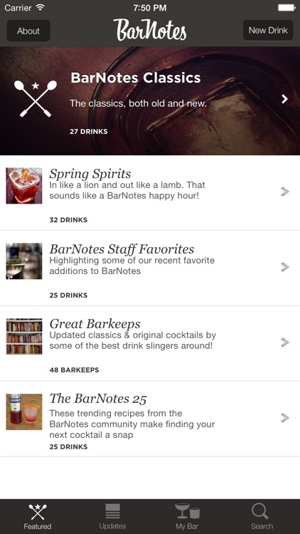 BarNotes – social cocktail and drink recipes