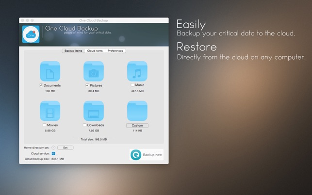 One Cloud Backup Screenshot