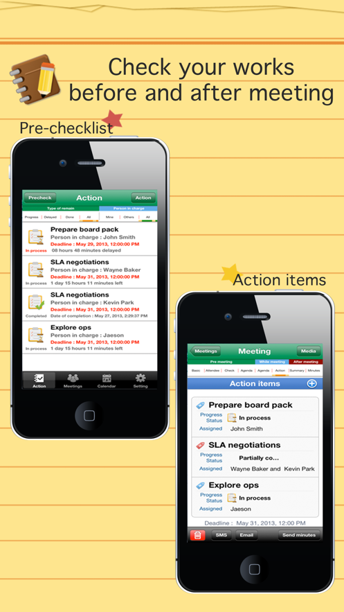 Smart meeting minutes multi sync - Schedule & action item check list App 截图