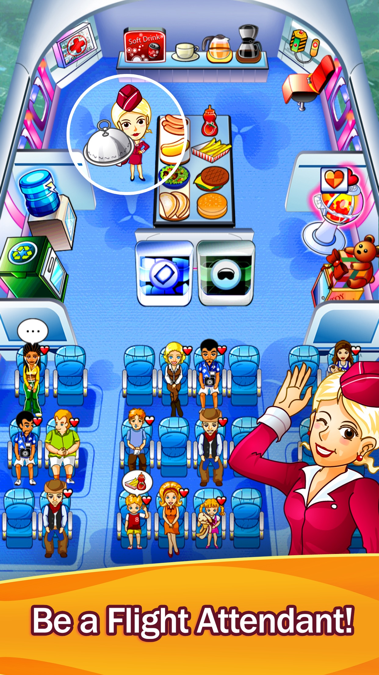 First Class Flurry HD - Flight Attendant Time Management Game Screenshot