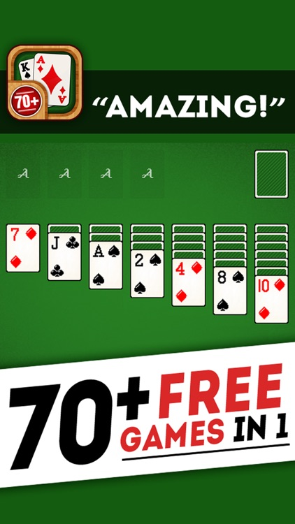 Solitaire 70+ Free Card Games in 1 Ultimate Classic Fun Pack : Spider, Klondike, FreeCell, Tri Peaks, Patience, and more for relaxing