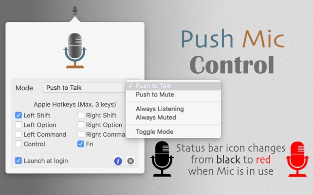 ‎Push Mic Control - A Push To Talk (PTT) manager