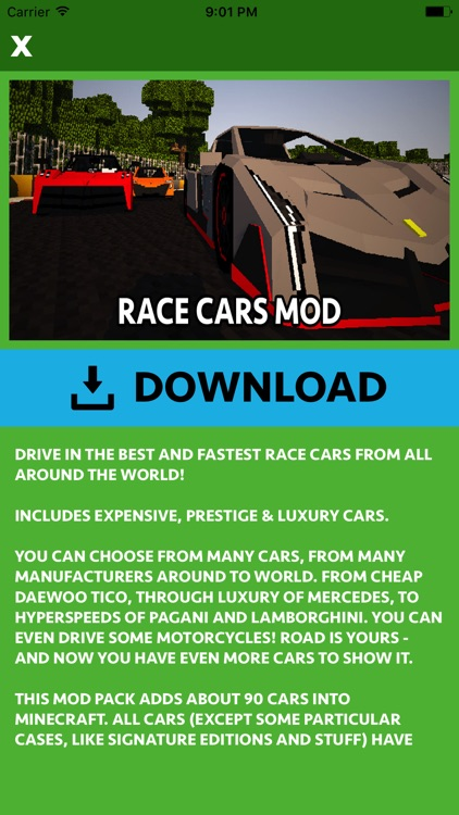 CARS MOD FOR MINECRAFT PC GAME