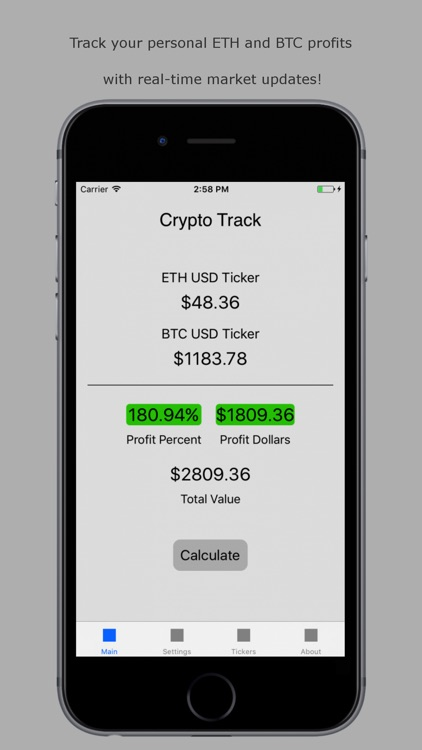 Crypto Track - Ethereum and BTC Tracker and Ticker screenshot-0