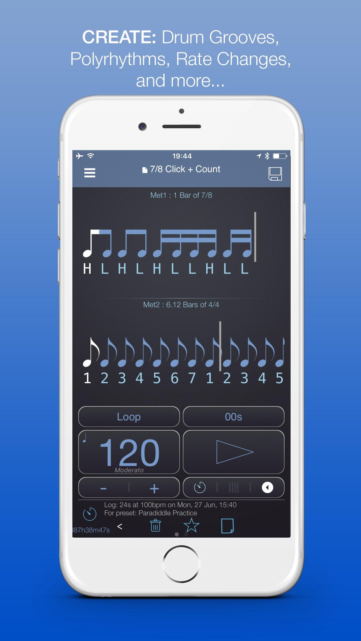 PolyNome: Metronome, Drum Machine, Practice Log Screenshot
