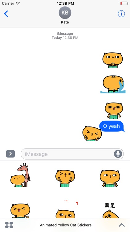 Animated Yellow Cat Stickers For iMessage screenshot-4