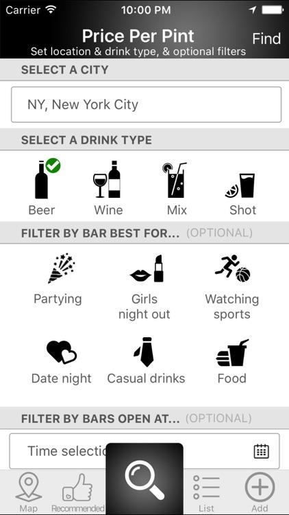 Price Per Pint: Happy Hour, Bar & Drink Finder
