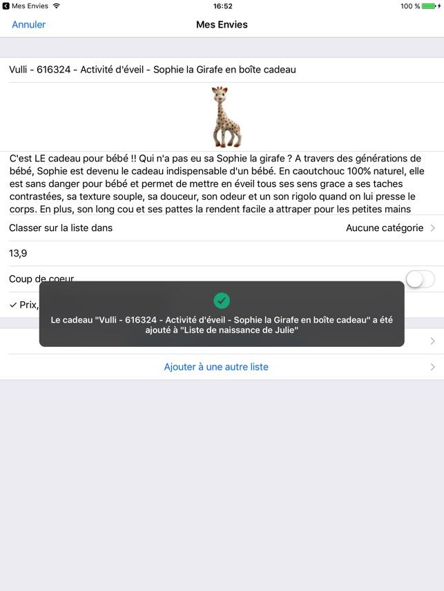 Mes Envies Ajoutez à Votre Liste De Cadeaux Dans L App Store
