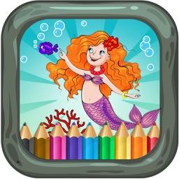 Mermaid little friend coloring book