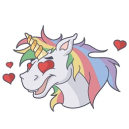 Lots Of Stickers Of Lovely Colorful Unicorn