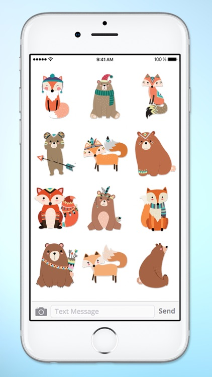 Cute Bear and Fox Animal Sticker Pack screenshot-3