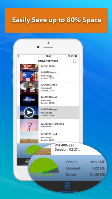 Video Slimmer: Shrink, trim, merge, rotate movies screenshot two