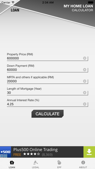 Malaysia Home Loan Calculator screenshot one