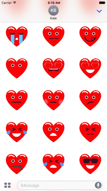 Heart Red Love Emojis Stickers for iMessage screenshot-3
