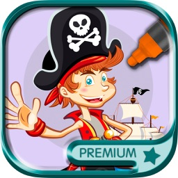 Paint and Color Pirates  coloring book - Premium
