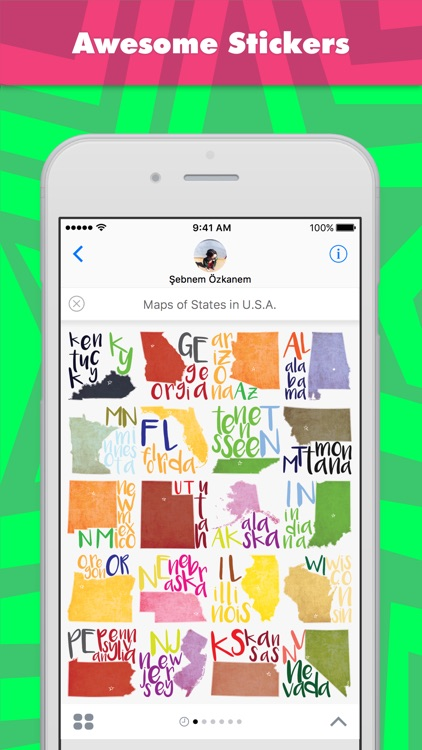 Maps of States in U.S.A. stickers for iMessage