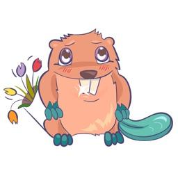 Beaver March 8 - love Valentine message stickers