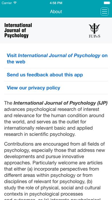 International Journal of Psychology Screenshot