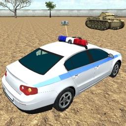 Police Car Survival Race in Modern Battlefield