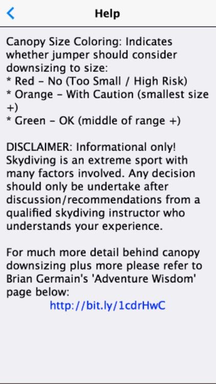 Skydive Wingload Calculator