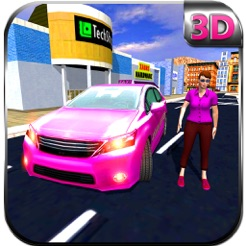 Pink Taxi Girl Driver Modern Car Rush Games On The App Store