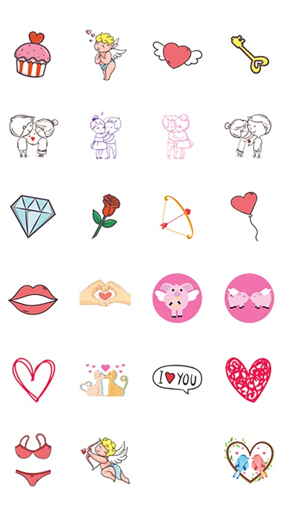 Hearts and Flowers - Cute Love Valentine Stickers