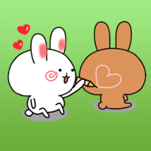Lovely Couple Rabbits Stickers Pack