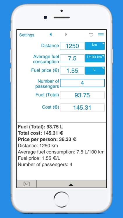 Trip fuel cost calculator screenshot-3