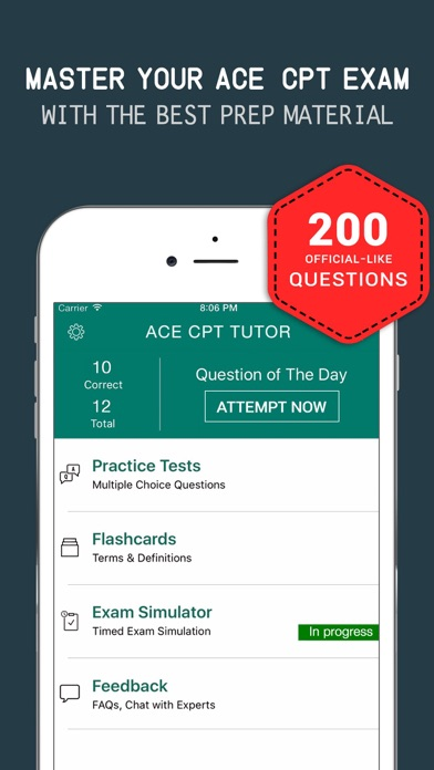 ACE CPT Practice Exam Prep 2017 - Q&A Flashcards Screenshot on iOS