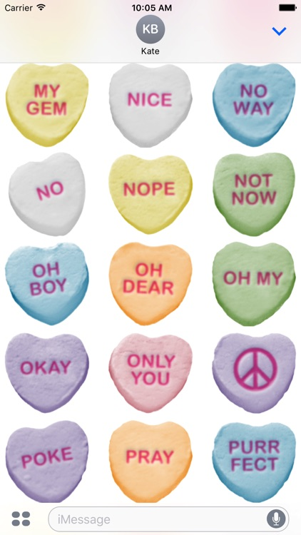 Candy Hearts Stickers #1 for iMessage screenshot-4