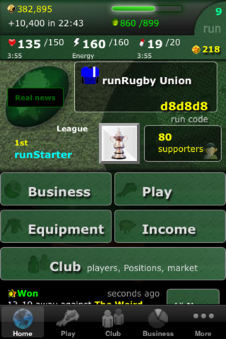runRugby Manager - náhled