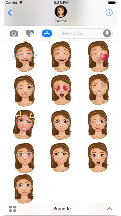 Brunette Emoji Set GeeMoji