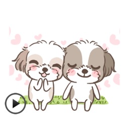 Animated Two Cute Dogs Stickers