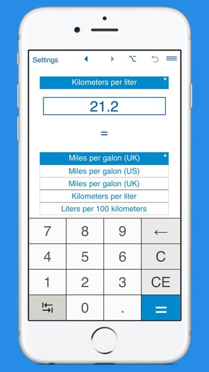 Fuel consumption converter MPG to L/100km and km/L screenshot-3