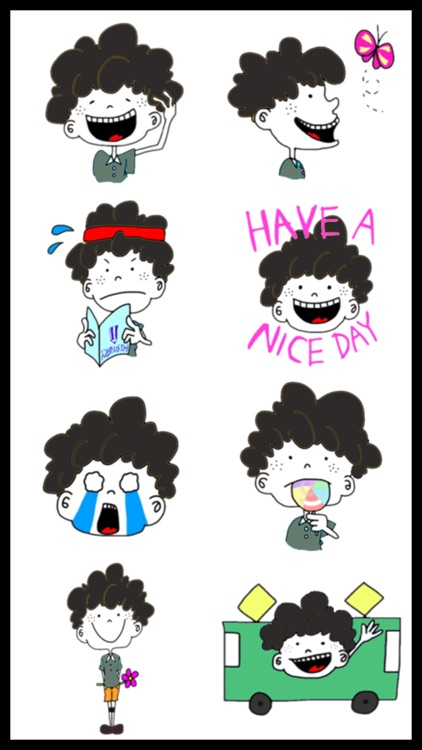 Curly Boy Stickers