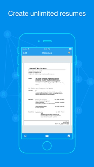Great Screenshots Within Resume Building App