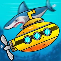 Submarine shooting shark in underwater adventure