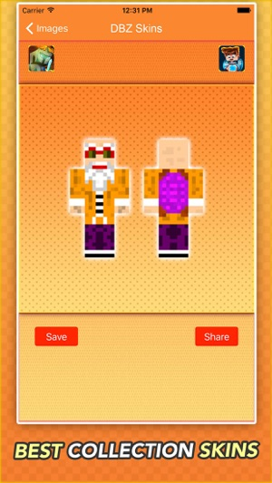 Super Skins For Dragon Ball Z Fans For Minecraft On The App Store - Skin para minecraft pe de goku