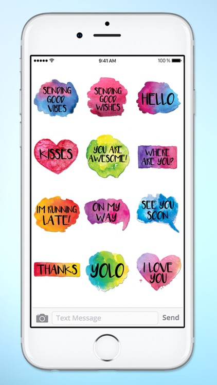 Watercolor Words Text Sticker Pack