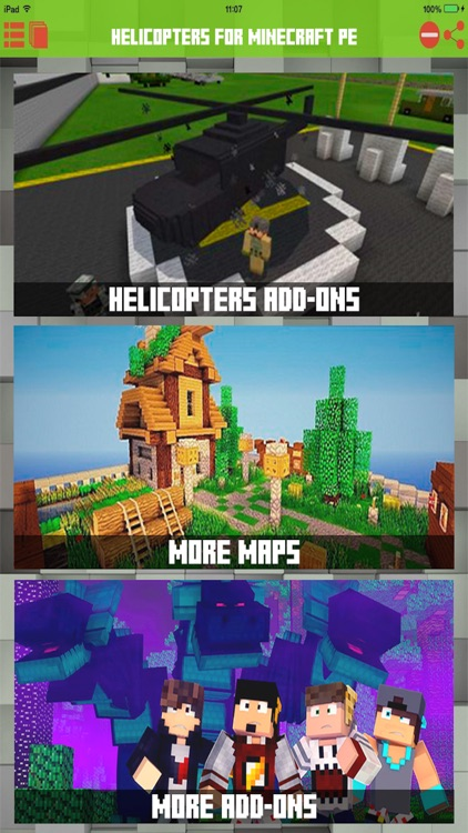 Helicopters Addons for Minecraft PE Pocket Edition