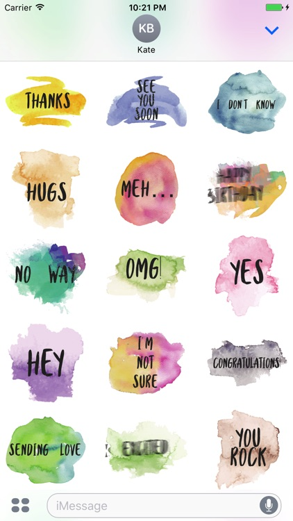 Animated Watercolor Words Text Sticker
