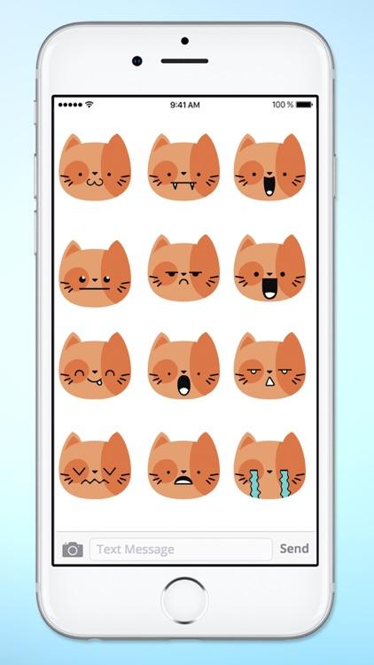 Orange Kitty Cat Face Emojis Sticker Pack screenshot-3