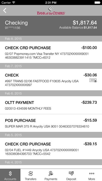 Bank of the Ozarks Mobile screenshot-3