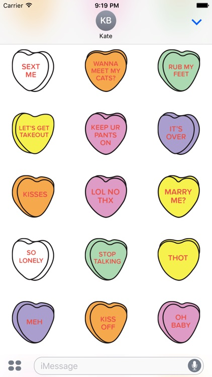 Candy Hearts Stickers