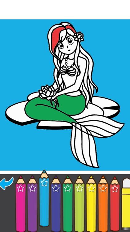 Coloring Mermaid Cartoon Book for preschool