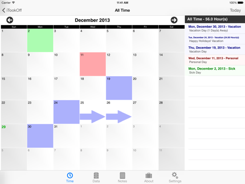 Screenshot of iTookOff Paid Leave Tracker
