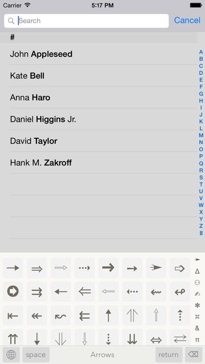 Symbols — special text characters screenshot-0