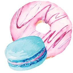 Donuts and Macaroons Watercolor Dessert Stickers